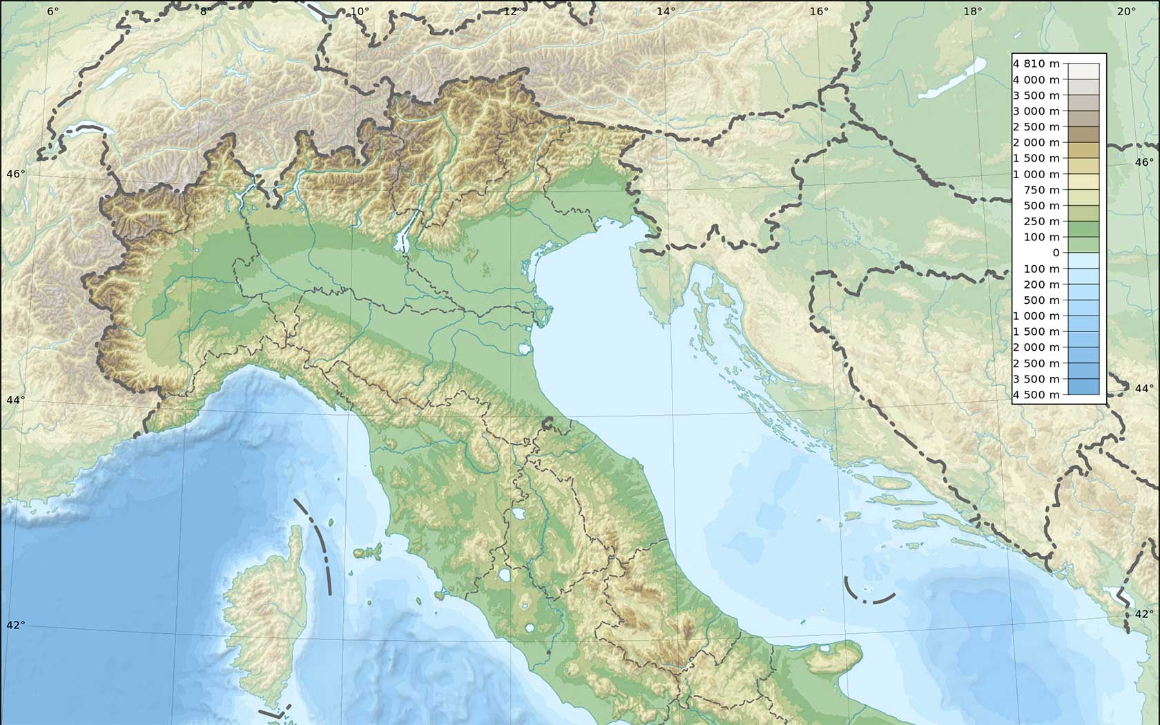 Trentino Alto Adige Cartina Geografica Fisica.Mappa Italia Fisica Muta Le Puntine Del Mondo